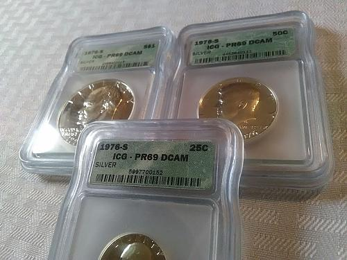 1976 S 25C, 50C & 1$ silver Proof set ICG PR 69 DCAM $42.00 with free shipping
