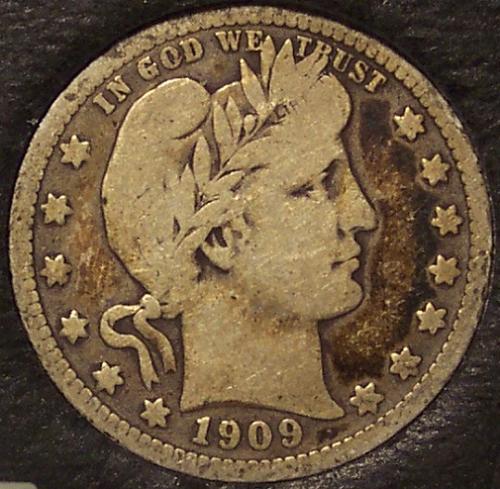 1909 Barber Silver Quarter VG/F #0437