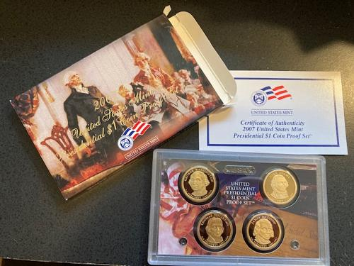 2007 Presidential Proof Set. First (4) Presidents. Complete packaging.