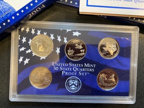 2004 Proof Quarter Set. (5) Quarters. Complete Packaging.