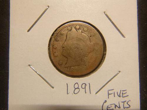 1891 P Liberty Nickels
