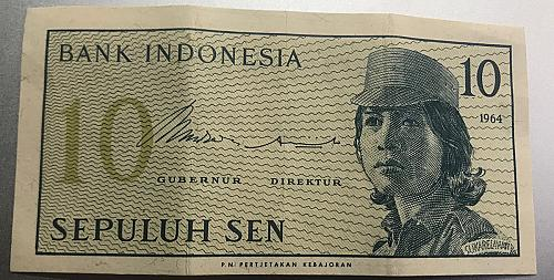 1964 Indonesia 10 Sen Banknote,   Vol. 2