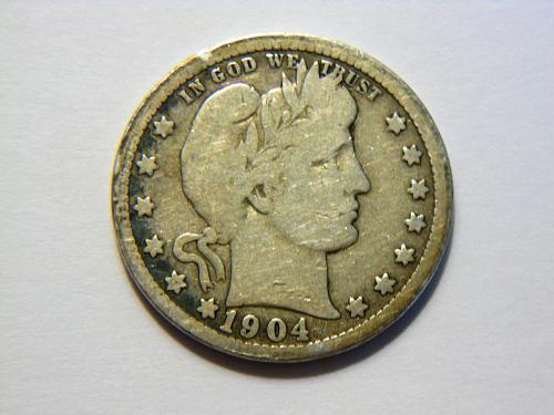 1904-P Silver Barber Quarter
