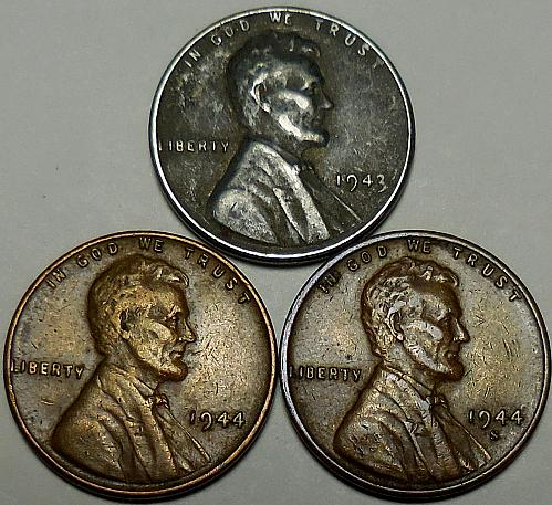 3 Lincoln Wheat Cents 1943-P 1944-P 1944-S