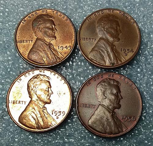 Lincoln 3 x Wheat Cents & 1 Memorial Cent : 1949, 54-d, 56, 59-d