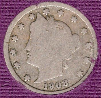 1908 P Liberty Nickels -#3