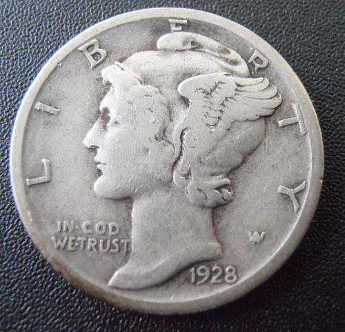 1928 S Mercury Silver Dime (28SUM4)