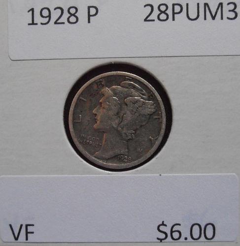 1928 P Mercury Silver Dime (28PUM3)