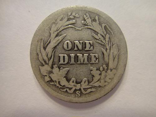 1904-S Barber Dime Good-4+ Very Scarce Date!