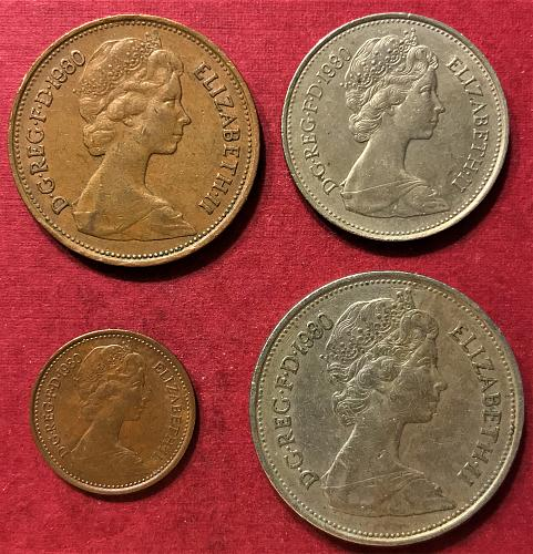 Great Britain - 1980 - 10, 5, 2 and 1/2 Pence