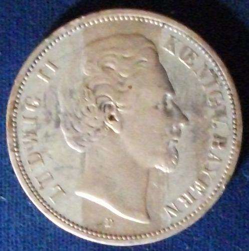 1875D German States/Bavaria 5 Mark VF+