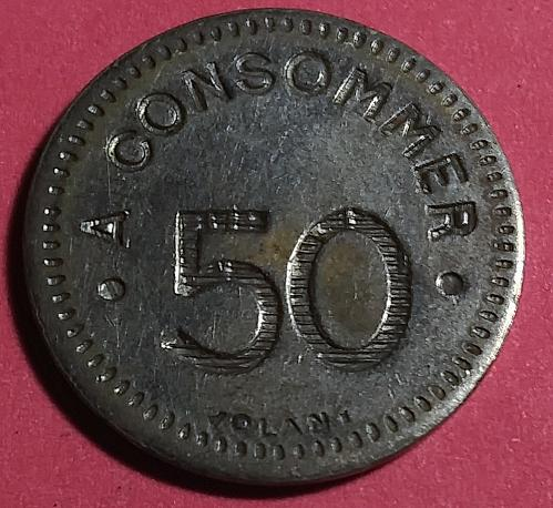 EARLY 1900'S FRANCE 50 CENTIMES CONSOMMER GAMING MACHINE TOKEN
