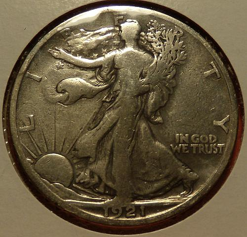 1921S Walking Liberty Half Dollar  F-Details (Cleaned)  #50-1921S-1