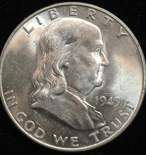 1949 D Silver Franklin Half Dollar MS63  PRICE REDUCED
