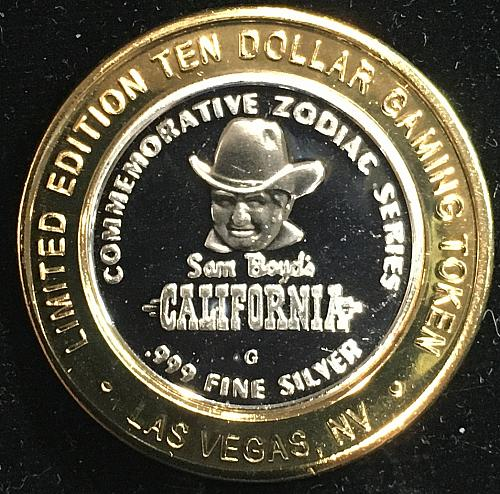 Gambling Token $10.00 contains .999 fine silver, California Hotel Los Vegas