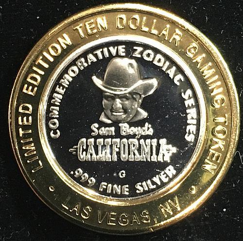 Gambling Token $10.00 contains .999 fine silver, California Hotel Los Vegas