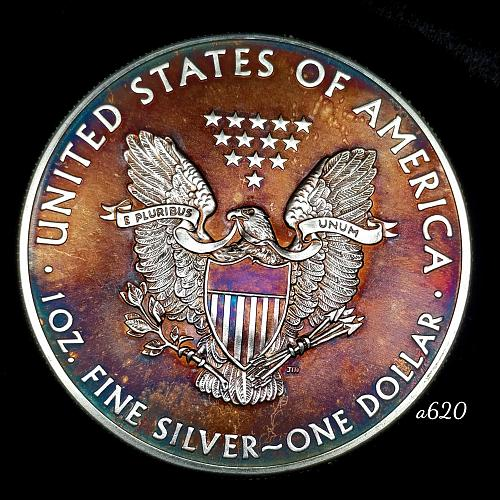 2014 Rainbow Toned Silver American Eagle 1 troy ounce silver Monster toned #a620