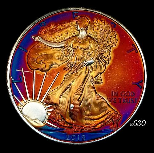 2019 Rainbow Toned Silver American Eagle 1 troy ounce silver Monster toned #a630