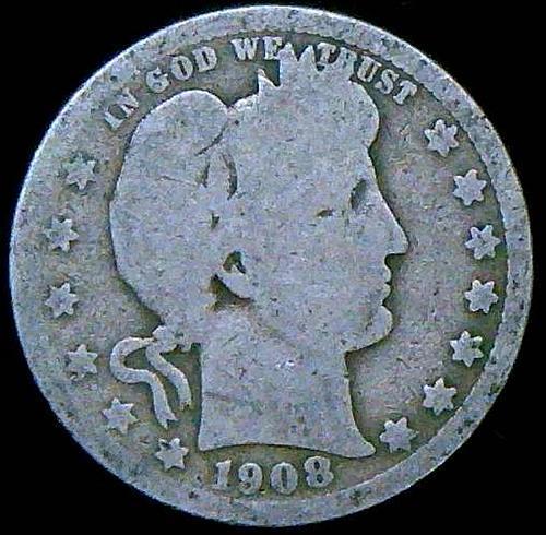 1908 Barber Quarters Early Silver Quarters V2P2R1