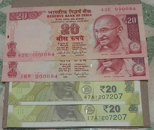 Matching No. India UNC notes 2 pair