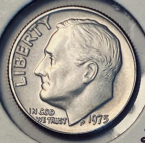 1975 uncirculated Heavier than normal Roosevelt Dime