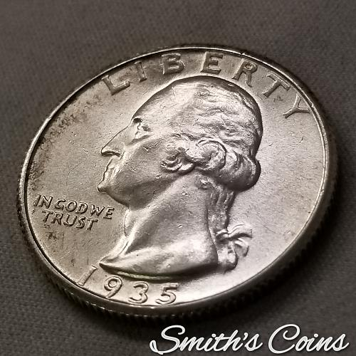 1935 S Washington Quarter ~ AU 58