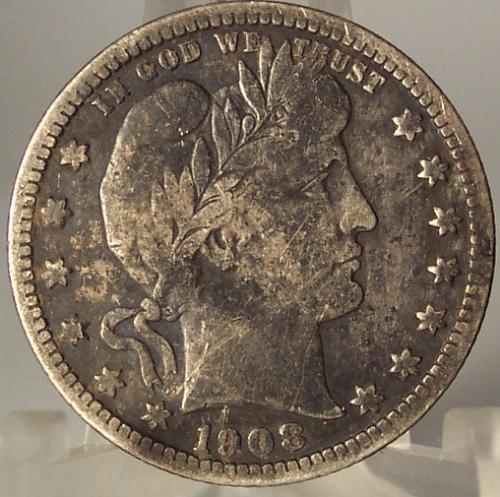 1908-D Barber Silver Quarter VG/F #0442