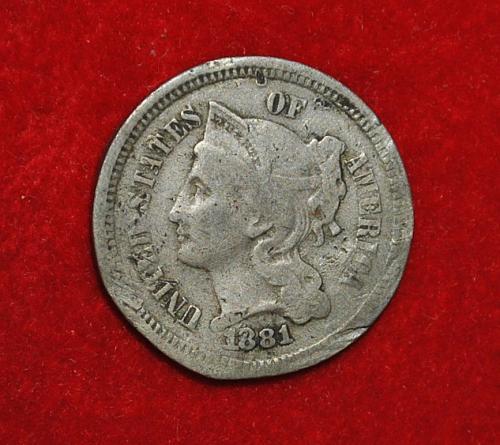 1881 P Nickel Three Cent Three Cent 5439