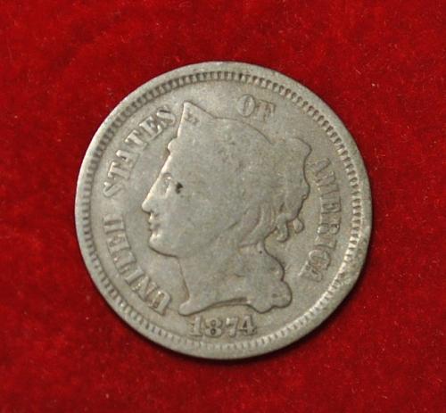 1874 P Nickel Three Cent Three Cent 5440