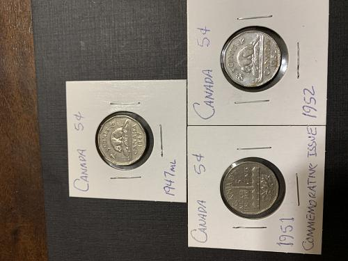THREE GEORGE VI CANADIAN NICKELS (1947ml,1951,1952 ) AT THE RIGHT PRICE