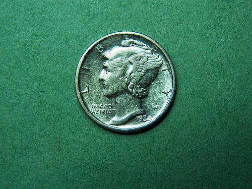 1934 D Mercury Dime Cleaned    x58
