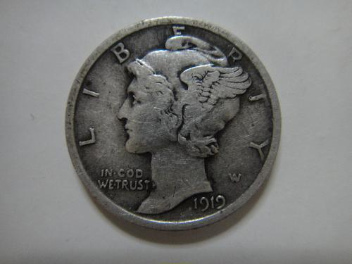 1919-D Mercury Dime Very Fine-30 Strong Definition For Grade!