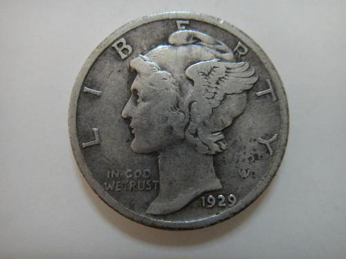 1929 Mercury Dime Very Fine-20 Decent Light Silver Patina!
