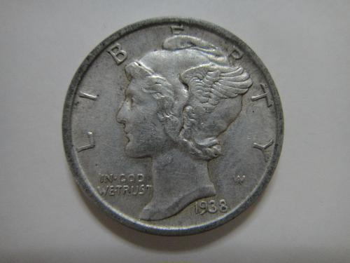 1938-D Mercury Dime Almost Uncirculated-53 An Underrated Date . . .