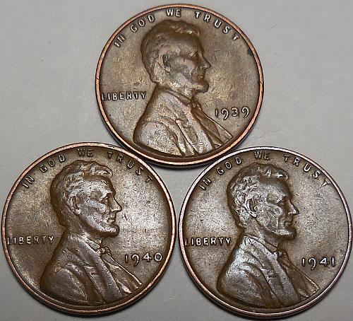 3 Lincoln Wheat Cents 1939 1940  1941