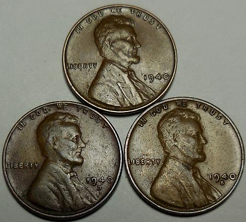 3 Lincoln Wheat Cents 1940-P 1940-D 1940-S
