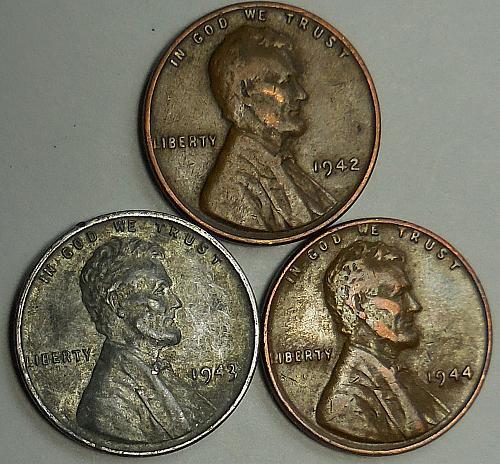 3 Lincoln Wheat Cents 1942 1943 1944