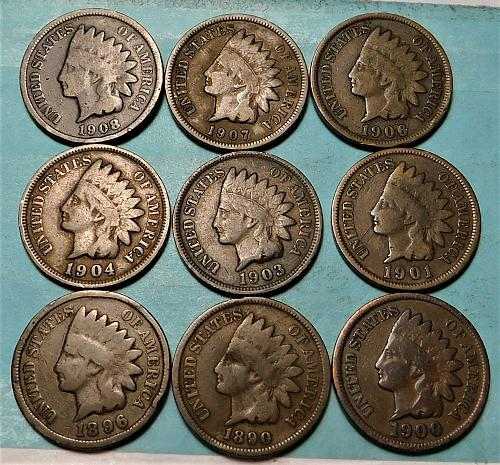 Lot of (9) Different Indian Head Cents