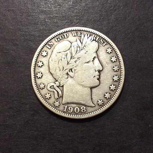 1908 D Barber Half Dollar, F imo, see pics and description!