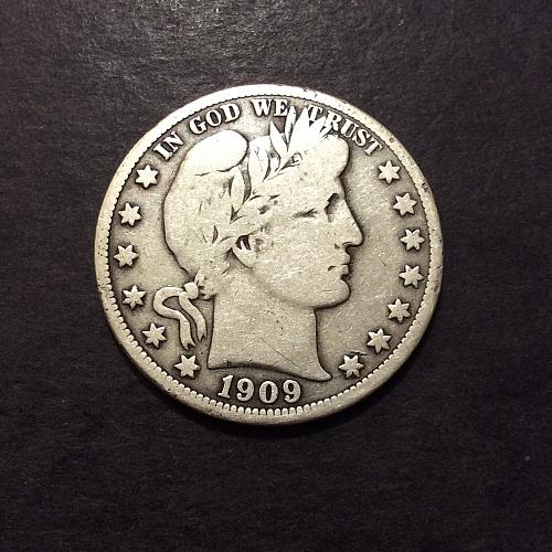 1909 P Barber Half Dollar, VG+ imo, see pics and description! (cn1)