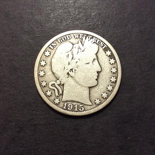 1915 S Barber Half Dollar, VG imo, see pics and description!(cn2)