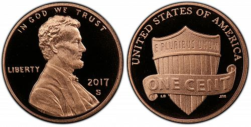 """2017-S LINCOLN SHIELD CENT """"DEEP CAMEO"""" FROM PROOF SET IN BCW FLIP K-3-20"""