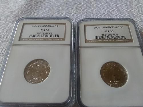 2004 P & D Handshake Jefferson nickel both NGC MS 66 $24.50 w/ free shipping