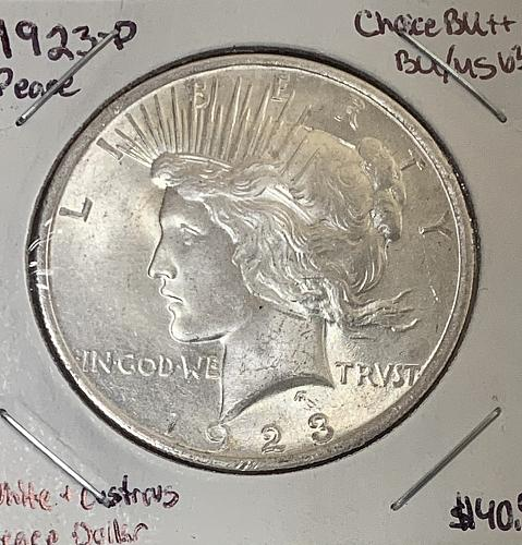 1923-P Lustrous High Grade BU/MS++ Peace Dollar 90% Silver - Problem Free Coin!