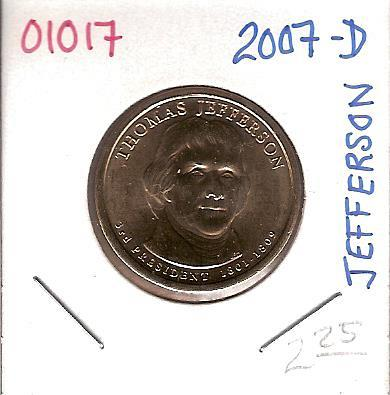 2007-D Presidential Thomas Jefferson