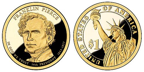 2010-S FRANKLIN PIERCE PRESIDENTIAL CAMEO DOLLAR FROM PROOF SET IN BCW FLIP  K-3