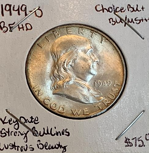 1949-D Choice BU/MS+++ Strong Bell Lines/CW Luster Franklin US Silver Half Dolla