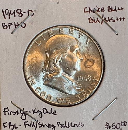 1948-D GEM/Choice BU/MS++++ Strong Bell Lines/CW Luster Franklin US Silver Half