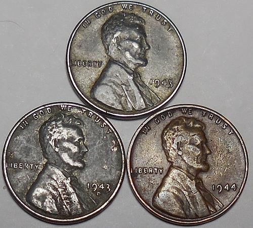 3 Lincoln Wheat Cents 1943-P 1943-D 1944-P