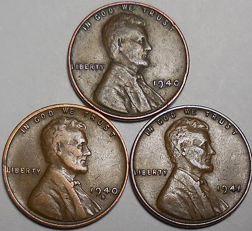 3 Lincoln Wheat Cents 1940-P 1940-S 1941-P